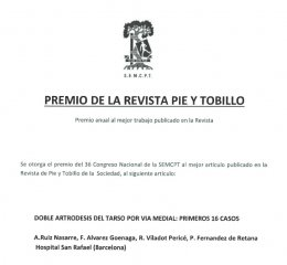 premio revista pie y tobillo