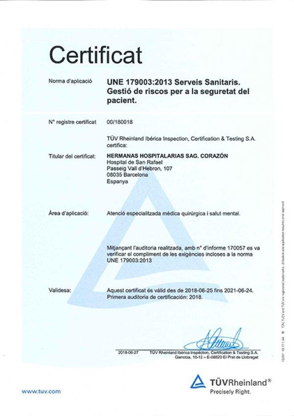 certificat acreditatiu de la norma UNE 179003